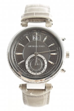 "Michael Kors Uhr mit Lederarmband ""Sawyer Ladies Watch Silver/Grey"""