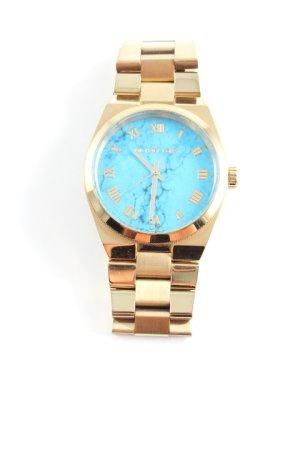 Michael Kors Uhr mit Metallband goldfarben-stahlblau abstraktes Muster