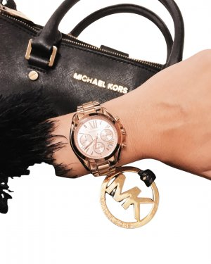 Michael Kors Watch With Metal Strap rose-gold-coloured-pink elegant