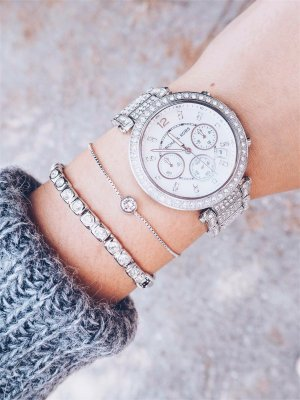 Michael Kors Watch With Metal Strap silver-colored casual look