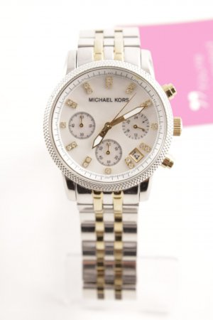 Michael Kors Orologio con cinturino di metallo argento-oro con glitter