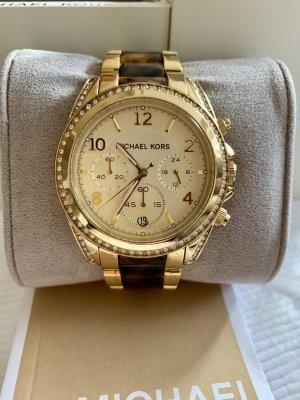 Michael Kors Horloge met metalen riempje goud-bruin