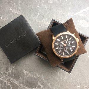 Michael Kors Uhr Unisex rosegold schwarz großes Ziffernblatt