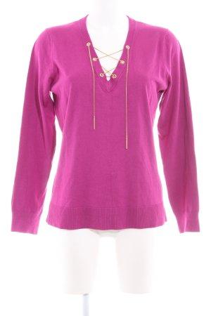 Michael Kors V-Ausschnitt-Pullover violett Webmuster extravaganter Stil