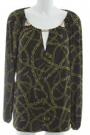 Michael Kors V-Ausschnitt-Shirt schwarzbraun-goldfarben Allover-Druck