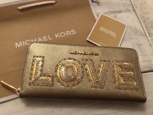 Michael Kors  Wallet Travel Leder Geldbörse Neu Love Schriftzug Farbe Gold