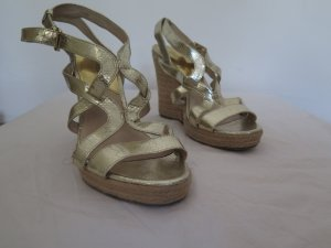 Michael Kors Wedge Sandals gold-colored leather
