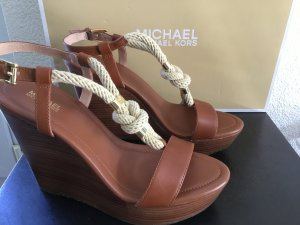 Michael Kors Wedge Sandals bronze-colored leather