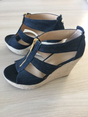 Michael Kors Platform High-Heeled Sandal dark blue-gold-colored
