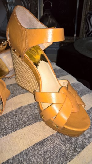 Michael Kors Wedge Sandals nude leather