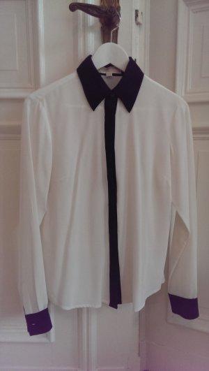 Michael Kurs, dunkel Blau-weiße Bluse aus Seide, Gr. S