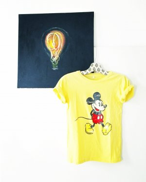 mickey mouse shirt / yellow / gelb / vintage / hippie