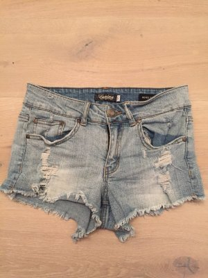 Mid Rise Shortie Destroyed Blue Jeans Gr.S