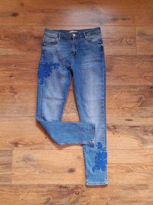 Mid Waist Application Jeans blau Gr. 36