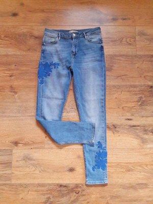 Mid Waist Embroidery Jeans blau Gr. 36