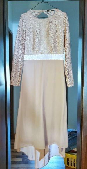 Midi Brautjungfernkleid aus Spitze mit Schleife hinten