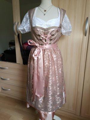 Country Line Vestido Dirndl color rosa dorado-gris oscuro