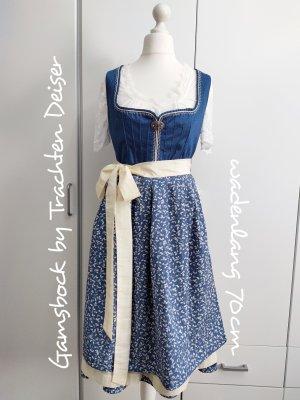 Gamsbock Vestido Dirndl crema-azul aciano Algodón