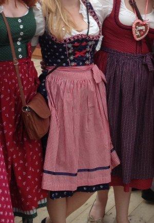 Vestido a media pierna azul oscuro-rojo ladrillo Algodón