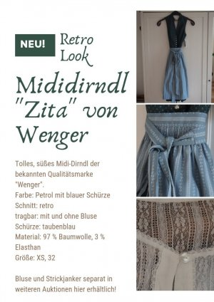 """Midi Dirndl """"Zita"""" von Wenger XS 32 NEU Petrol Retro-Look"""