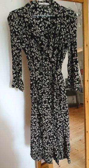 Midi Kleid Blusenkleid Schwarz Blumen Viskose Xs 34