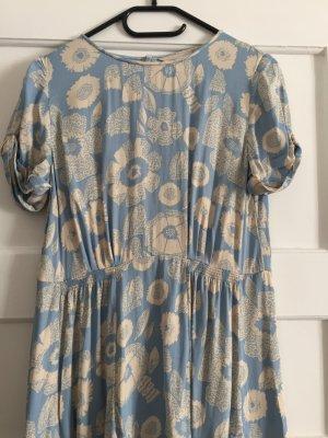 Midi-Kleid hellblau mit Blumenprint