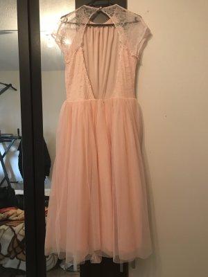 Midi Kleid mit Tüll Tüllkleid rosa Hochzeit Ball Abschlusskleid