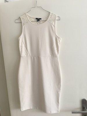 H&M Vestido a media pierna blanco puro-crema