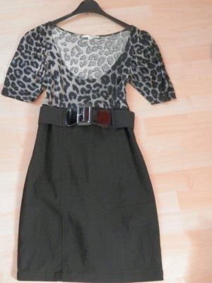 Midi Kleid von Tally Weijl mit Leo Print und Taillengürtel