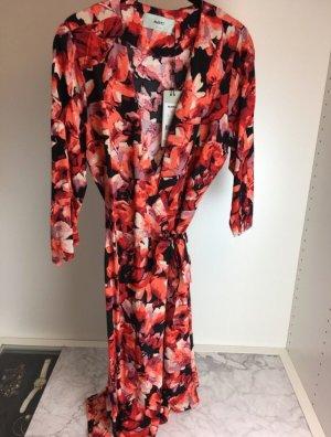 Midi Kleid Wickelkleid rot schwarz elegant