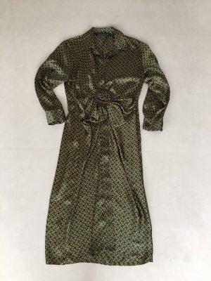 Midi Kleid Zara Hermes-Stil Grün Gold Blau Grösse M