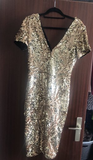 Club L Sequin Dress gold-colored