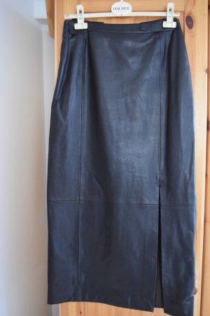 Hauber Falda de cuero de imitación marrón oscuro