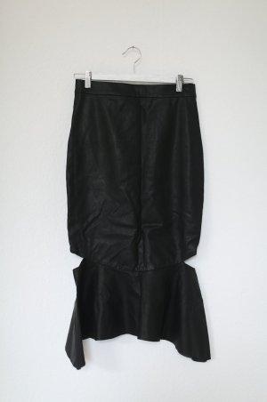 Midi-Rock von Bardot Kunstleder Bleistiftrock Gr. 38 M schwarz Leder
