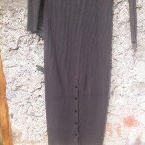 Midi-WollStrick kleid, 40-42, taupe, langärmelig