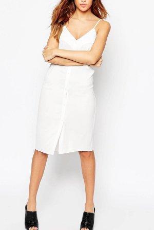 Midikleid duchgeknöpft Kleid schwarz Knopfleiste Hemdkleid Trägerkleid asos Slip Dress