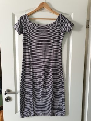 H&M Off the shoulder jurk wit-donkerblauw