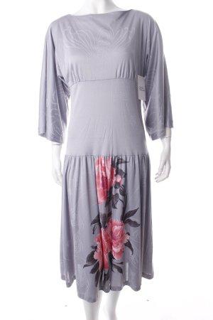 Midikleid helllila-rosa florales Muster 70ies-Stil