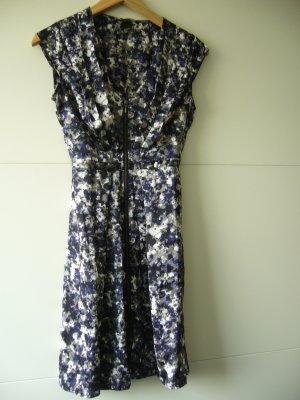 Midikleid Kleid H&M XS 34 blau grau schwarz weiß Muster