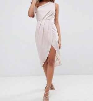 Midikleid mit One-Shoulder-Träger in Nude / Rosé