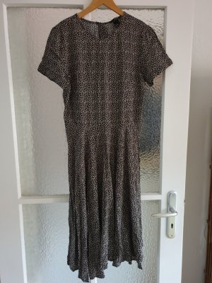 H&M Midi Dress black-beige viscose