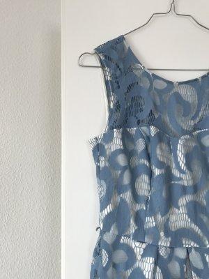 Yessica Midi-jurk wit-lichtblauw