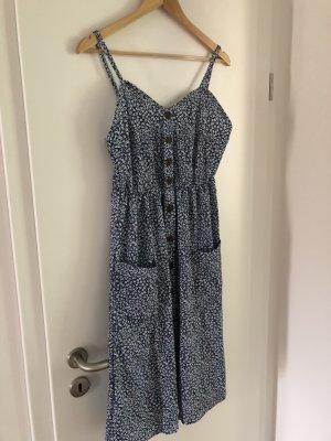 Midi-jurk wit-donkerblauw Polyester