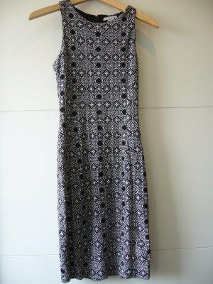 Midikleid schwarz weiß Muster H&M XS 34