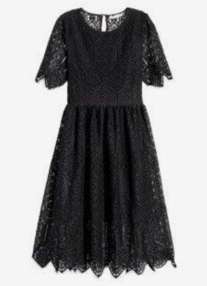 Midikleid Spitzenkleid H&M rücken transparent schwarz s 36 Kleid spitze zara mango