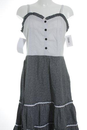 Midi-jurk wit-staalblauw bloemenprint vintage producten
