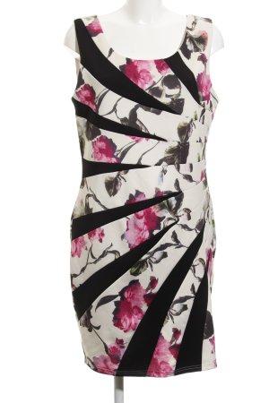 Midi Dress natural white-black flower pattern street-fashion look