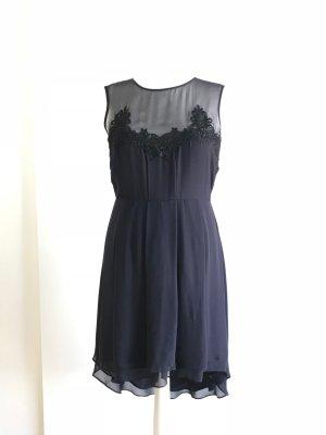Warehouse Robe mi-longue bleu foncé-noir polyester