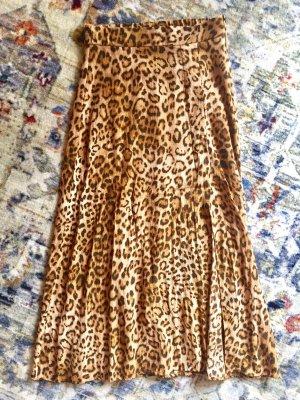 Zara Falda midi marrón-marrón claro