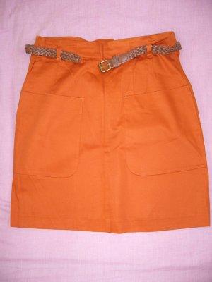 Midirock orange mit braunem Gürtel H&M XS 34